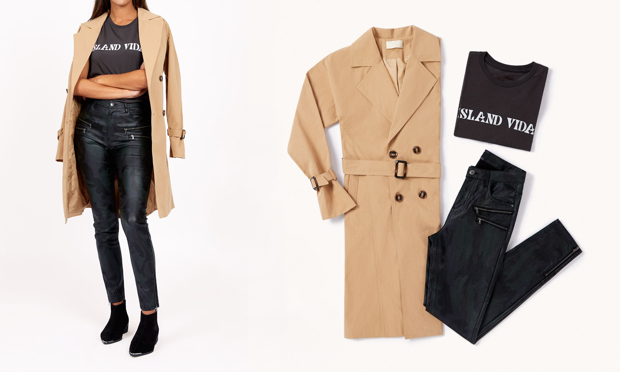 total black outfit con trench