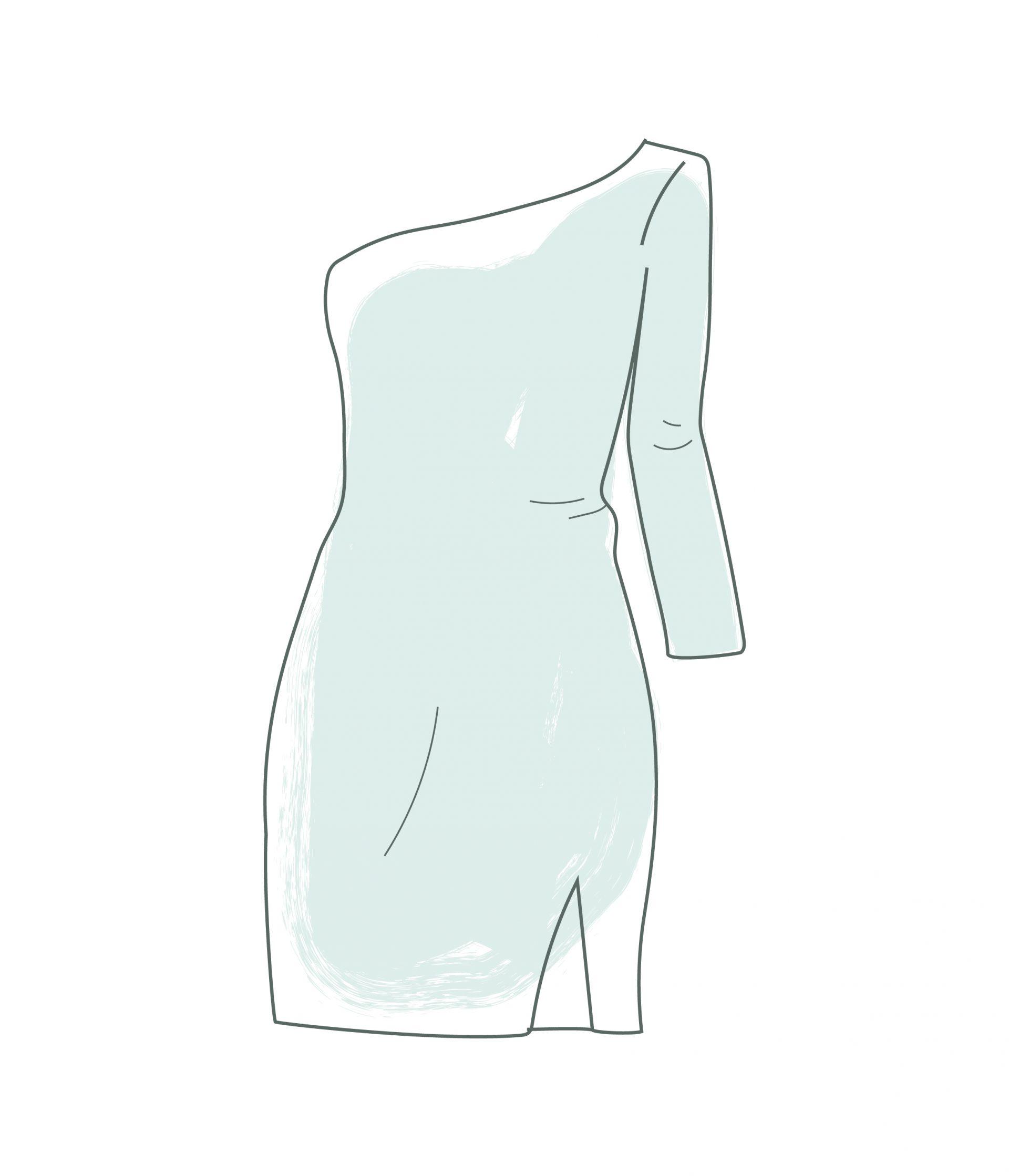 que es un vestido asimetrico